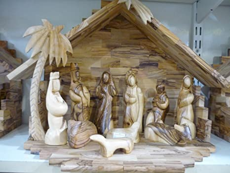 Olive Wood Nativity Set 118 Handmade Hand Carved At Bethlehem Holy Land