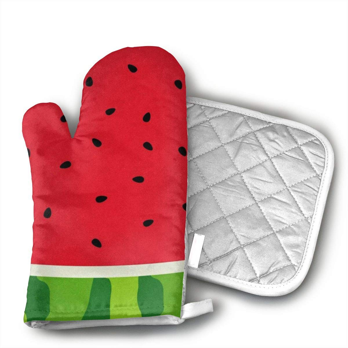 Summer Watermelon Fruit Oven Mitts and Pot Holders Set with Polyester Cotton Non-Slip Grip, Heat Resistant, Oven Gloves for BBQ Cooking Baking, Grilling