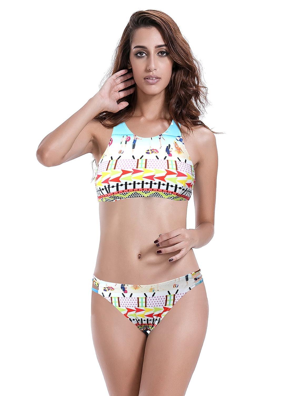 Reteron Womens Strappy Bottom Racerback Bikini Bathing Suits