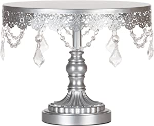 Amalfi Decor Cake Stand, Round Metal Pedestal Holder with Crystals, Silver, 10 Inches