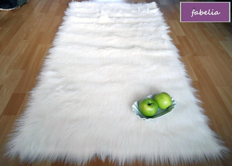 Fabelia Flokati-Stil Hochflor Shaggy Teppich Ameiny Colours - Kuschelweich - Wohnzimmer Schlafzimmer (180 cm x 250 cm, Weiß)