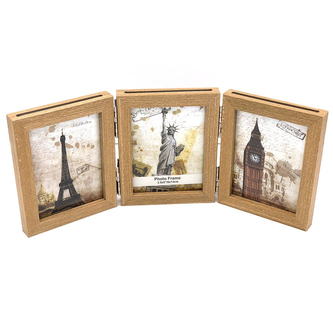 INEYMALL Wooden Photo Frame Folding 3 Stage Photo Frame With Glass 3.5x5 (beige)