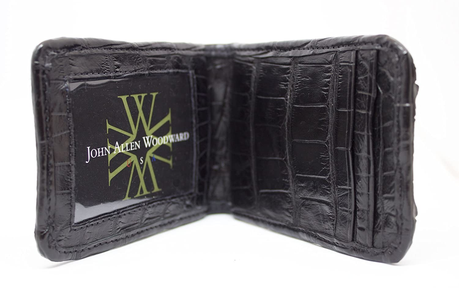 Slim ID window and Credit Card Pockets Crocodile front pocket collection by John Allen Woodward wynnhbagblmcw Hornback Alligator Money Clip Wallet with Sterling Silver Cross