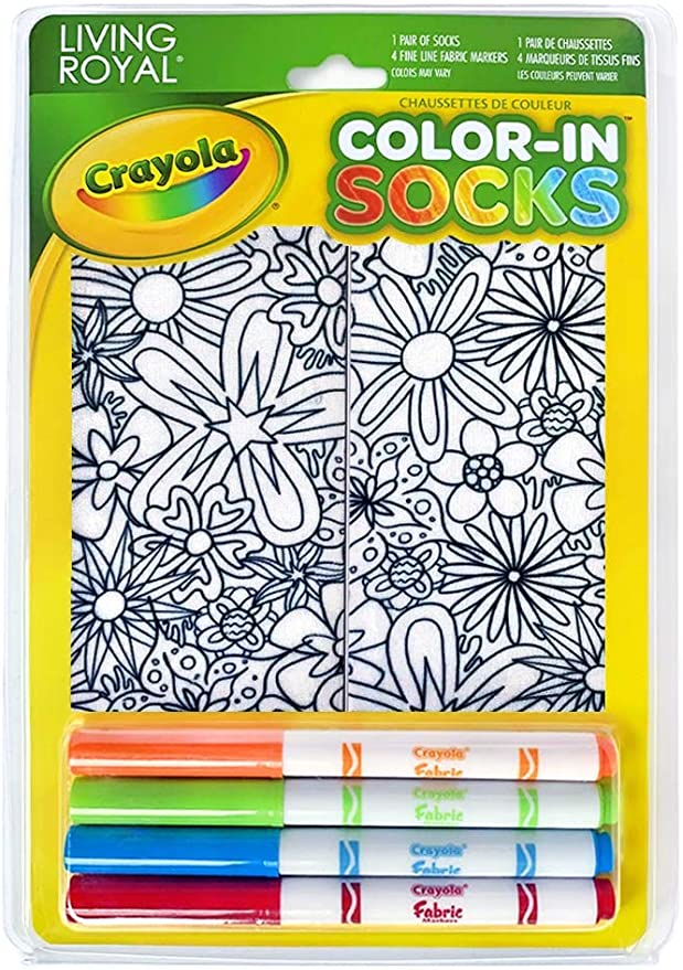 Crayola Kid's Color-In Socks - Includes 1 Pair Of Socks And 4 Fabric Markers by Living Royal (Floral Design)