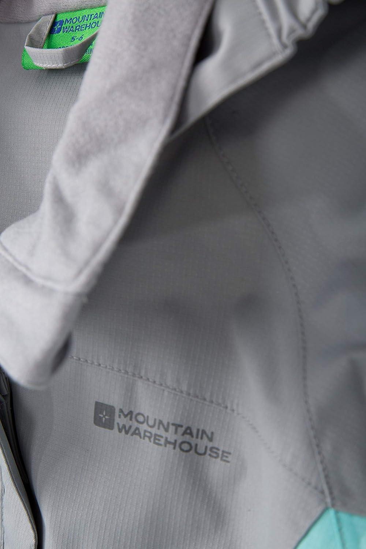 Impermeable Impermeable Costuras Selladas para ni/ños pu/ños Ajustables Bolsillos para ni/ños y ni/ñas Mountain Warehouse Shelly II Chaqueta de los Cabritos