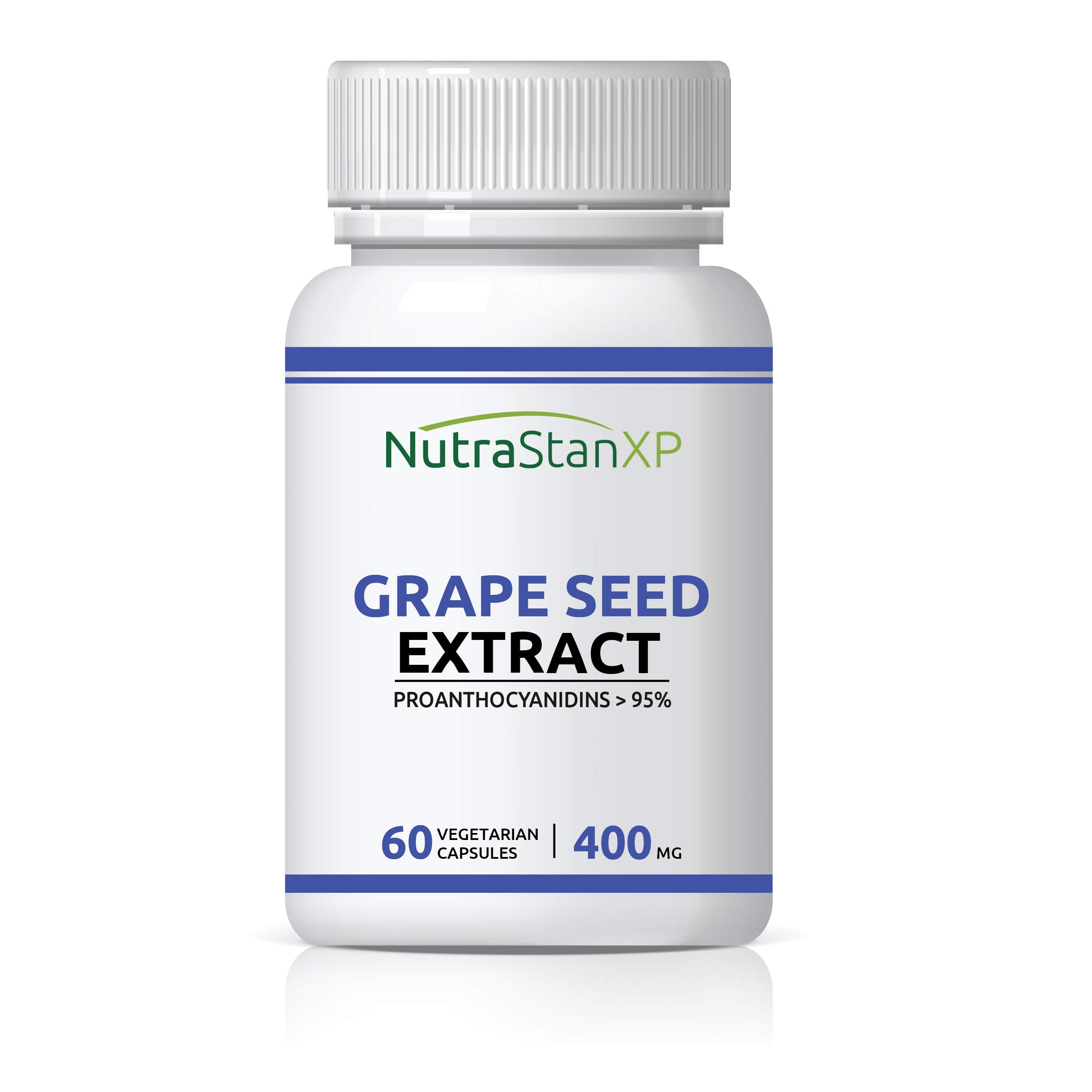 NutrastanXP Grape Seed Extract (Proanthocyanidins > 95%) Antioxidant, 400 mg - 60 Vegetarian Capsules