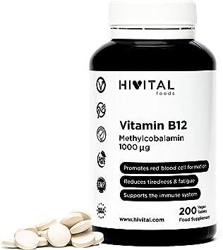 Vitamina B12 Metilcobalamina 1000 mcg | 200 comprimidos (Más de 6 meses de suministro) | Contribuye