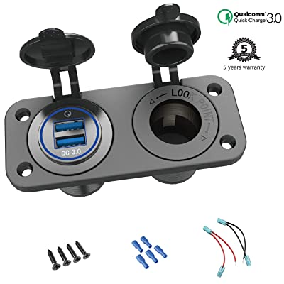 Quick Charge 3.0 Cigarette Lighter Outlet Splitter, 12V USB Charger Waterproof Power Socket Adapter DIY Kit with Blue LED Dual USB Ports for Rocker Switch Panel on Car Boat Marine RV, etc: Electronics
