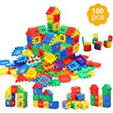 MICHLEY Building Blocks, Classic Construction Toy for Kids, 100 pcs Builder Bricks Preschool Building Sets for Children