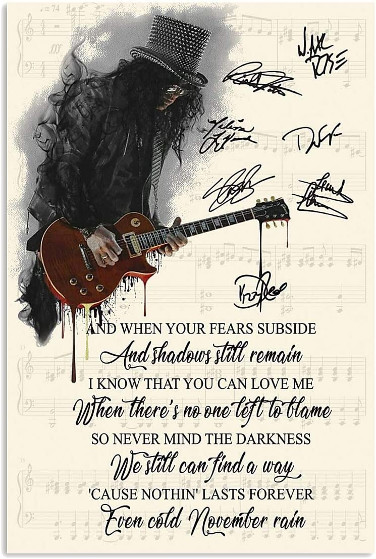 Amazon Com Ctychico Guns N Roses Singer November Rain Genius Lyrics With Signs Song Melody Wall Art Print Painting Home Decor Gifts For Lovers Poster Posters Prints