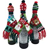 FEFEHOME Christmas Wine Bottle Gift Wrapping Lovely Sweater Scarf and hat (Set of 3) (E)