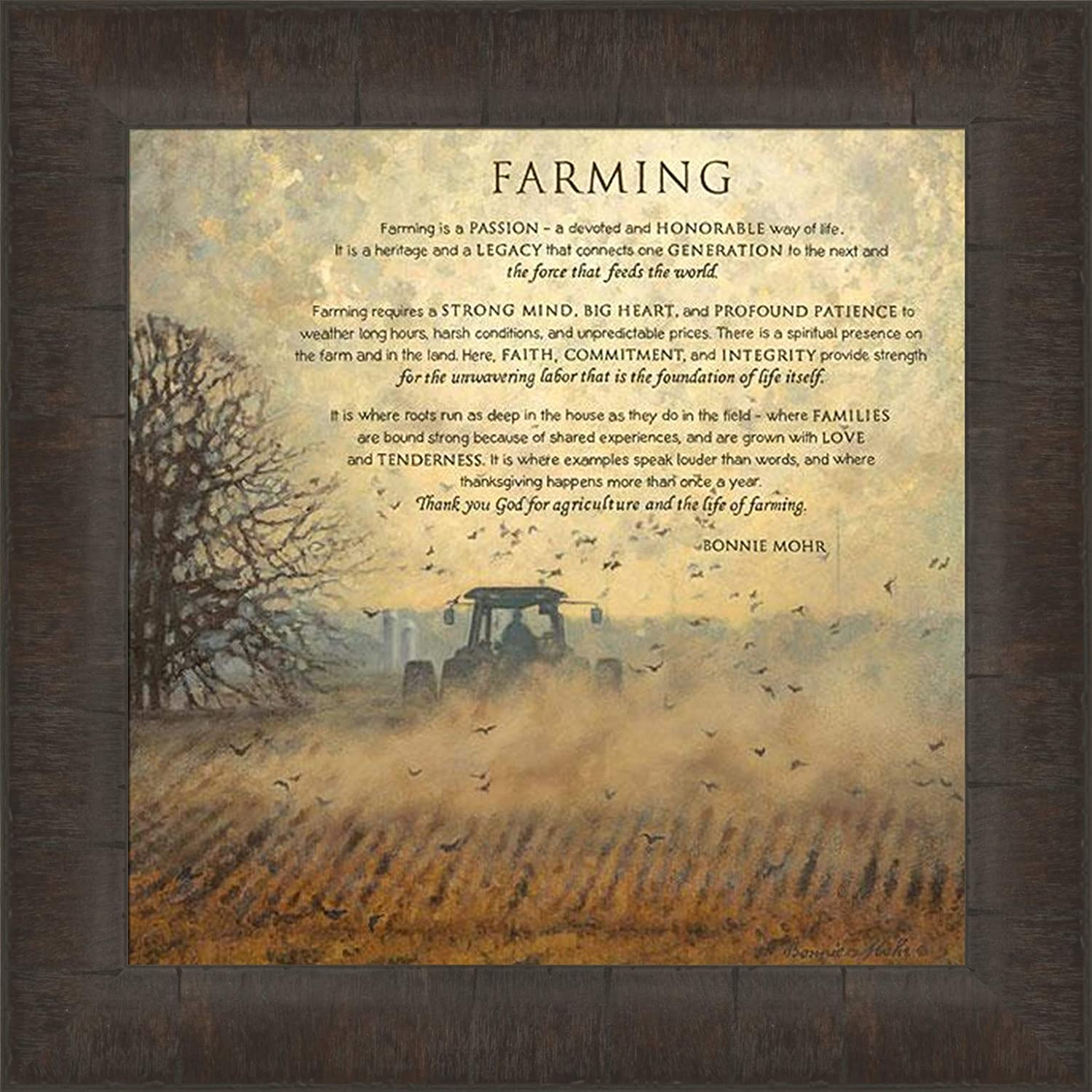 Home Cabin Décor Farming by Bonnie Mohr 15x15 Tractor Field Poem Sign Agriculture Farm Farmer Crops Inspirational Framed Art Print Picture