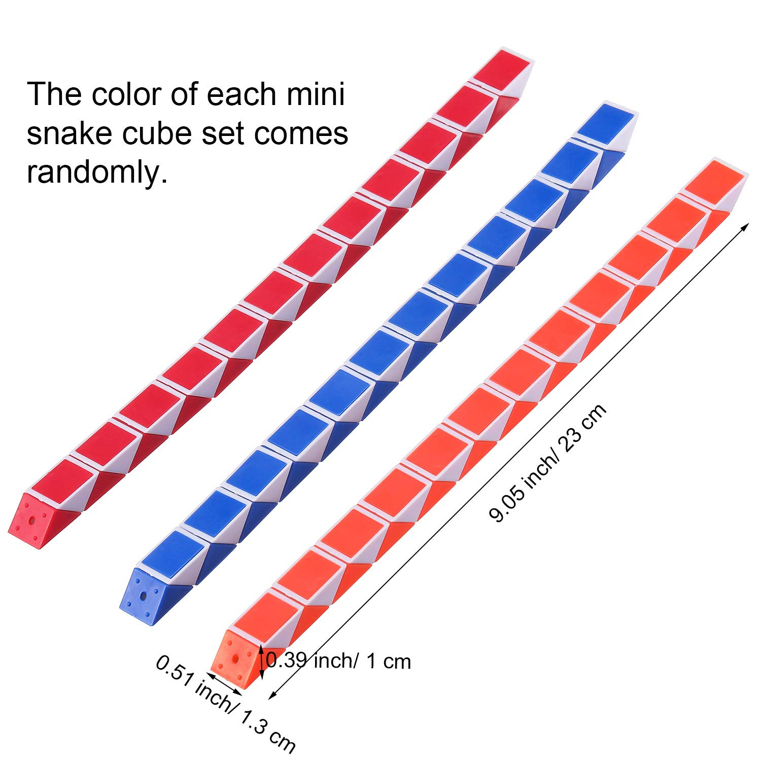 Boao 18 Pack 24 Blocks Magic Snake Cubes Twist Puzzle Toys Mini Snakes Speed Cubes for Kids Party Bag Fillers Party Supplies Random Colors