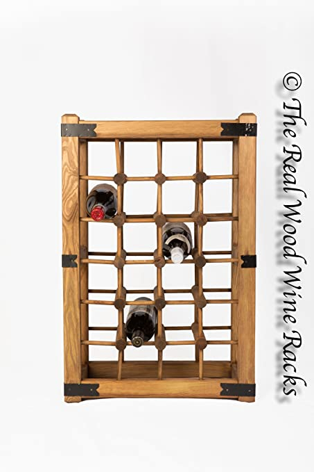 New Real Wooden Rustic Wine Rack / Cabinet, 24 Bottles With Table Top,  Kitchen