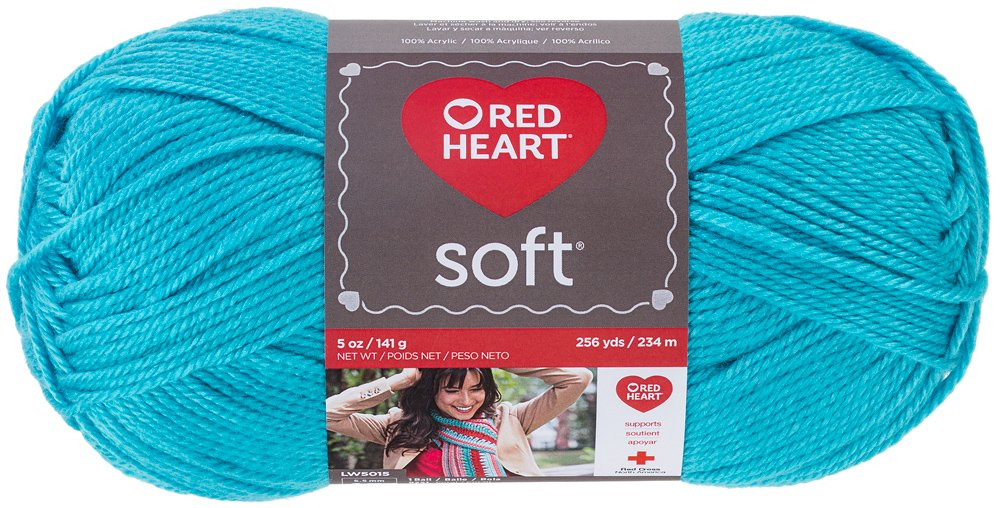 Red Heart Soft Yarn, Turquoise all purpose Red Heart soft yarn features an ultra soft hand and subtle luster. It has an elegant drape that is ideal for fashion looks. Made of 100 percent acrylic material. It is available for 5 mm knitting needle and 5.5 mm crochet hook