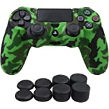 YoRHa Transferencia de agua camuflaje de impresión silicona caso piel Fundas protectores cubierta para Sony PS4/slim/Pro Mando x 1 (verde) Con PRO los puños pulgar thumb gripsx 8