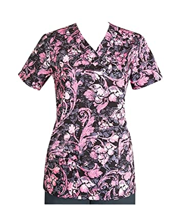56f9bf9e0cd Image Unavailable. Image not available for. Color: ICU by Barco Uniforms  Missy 4 Pocket Detailed V-Neck Print ...