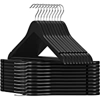 SONGMICS 20 Pack Wooden Coat Hangers, Smooth Solid Wood Suit Hangers with Pants Bar, 360° Swivel Hook and Shoulder Notch for Dress, coat, jacket, shirt, skirt, pants, Black UCRW02B-20