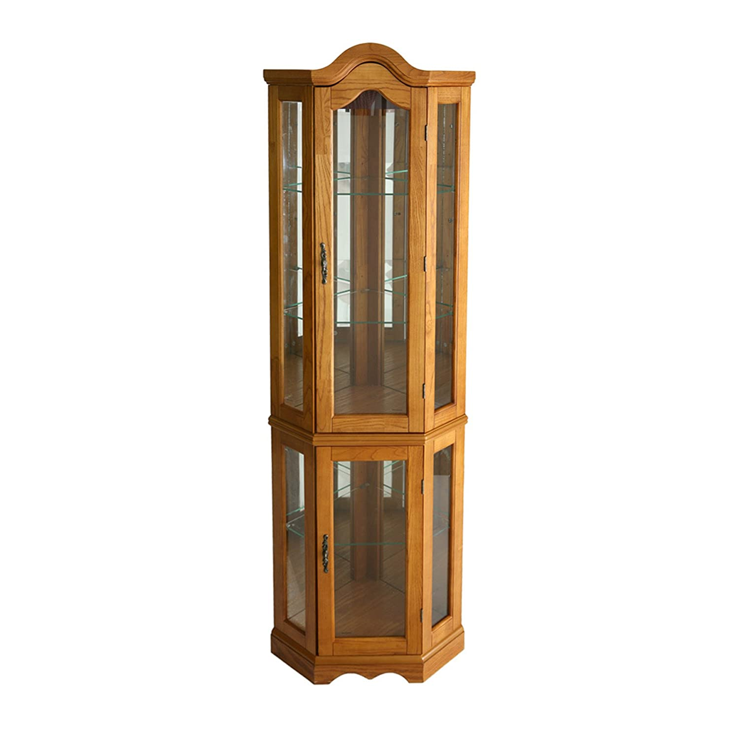 lighted corner curio cabinet golden oak ebay lighted corner curio cabinet cherry lighted corner curio cabinet - mahogany