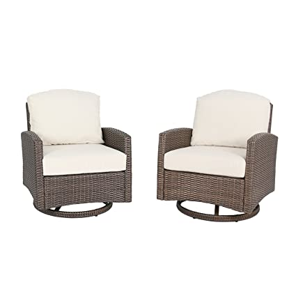 Iwicker 2 Piece Outdoor Swivel Wicker Club Chairs With 100% Polyester  Cushions, Beige