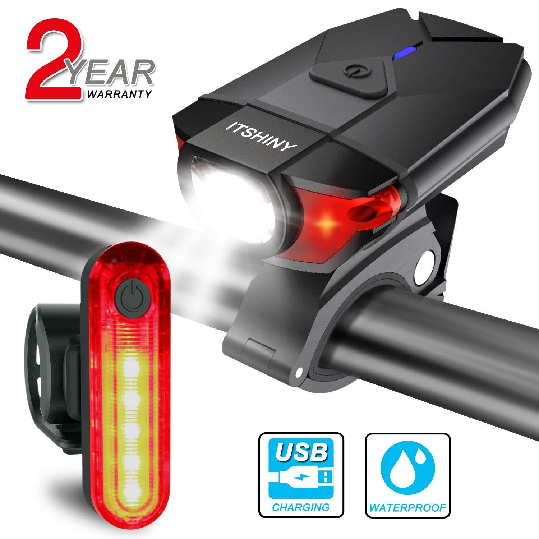 USB Rechargeable LED Bike Light Set Headlight Taillight Safety Bicycle Lights Z