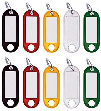 30 llaveros para Escribir, Etiquetas para Llaves de plástico con Anillo Etiquetas Intercambiables en Negro, Rojo, Amarillo, Blanco, Verde