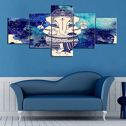 Amazon.com: Ganesha Paintings Ganapati Pictures 5 Panel Canvas Wall ...