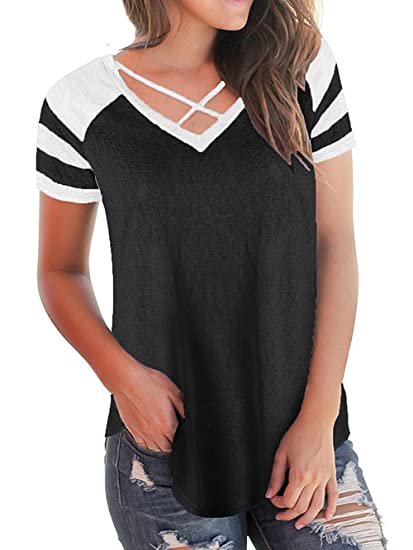 c1bebf921d0 Womens Summer Short Raglan Sleeve V Neck T Shirts Loose Criss Cross Curve  Hem Casual Tee