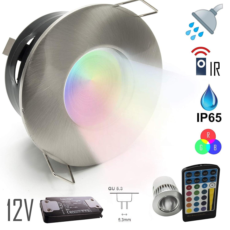 Incasso IP65 Led cromoterapia box doccia bagno faretto rgb 5W 12V alimentatore