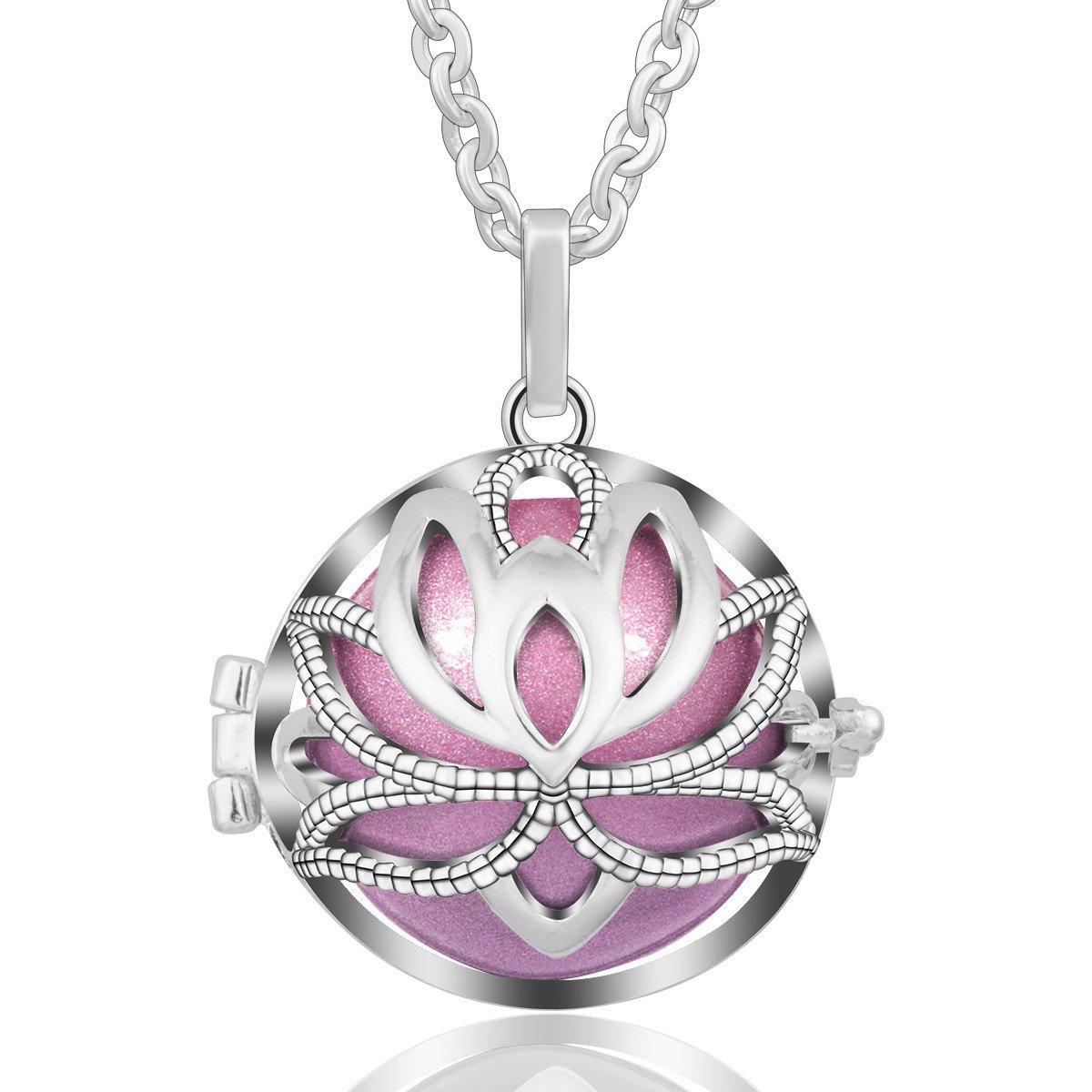 EUDORA Harmony Bola Necklace Yoga Lotus Music Chime Pendant Gift for Mom angel jewelry, 30'' Chain Violet Red by EUDORA