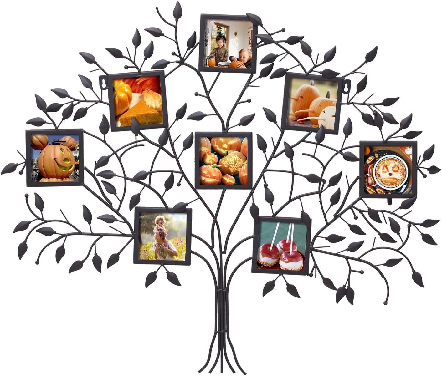 Asense Family Tree Photo Frame Black Metal Wall Hanging Decorative Collage Picture Frame, 8 Openings