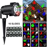 Christmas Laser Light, [Newest Version] Ucharge Snowflake Led Landscape Spotlight 10 Slides Sparkling Laser Light Show Rotating Outdoor Projection Lights for Holiday, Christmas Decoration, Multi