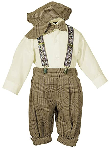 Vintage Style Children's Clothing: Girls, Boys, Baby, Toddler Vintage Dress Suit-BowtieSuspendersKnickers Outfit Set-Boys Brown Plaid $28.65 AT vintagedancer.com