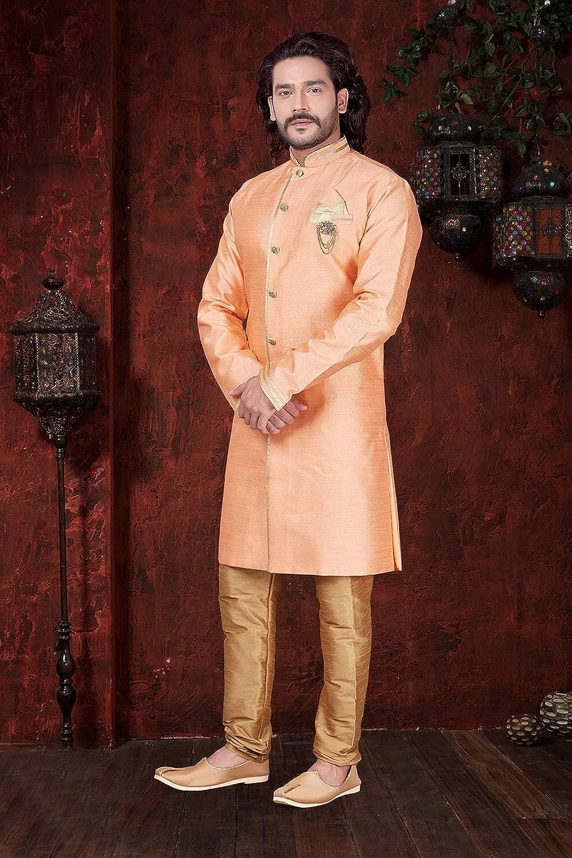 Da Facioun Indian Designer Partywear Traditional Ethnic Jupitor Silk Mens Wear Sherwani. Light Orenge