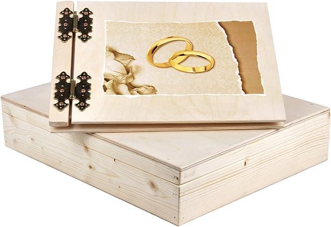 25 hojas luz de madera álbum de fotos para boda con una caja de regalo: Amazon.es: Hogar