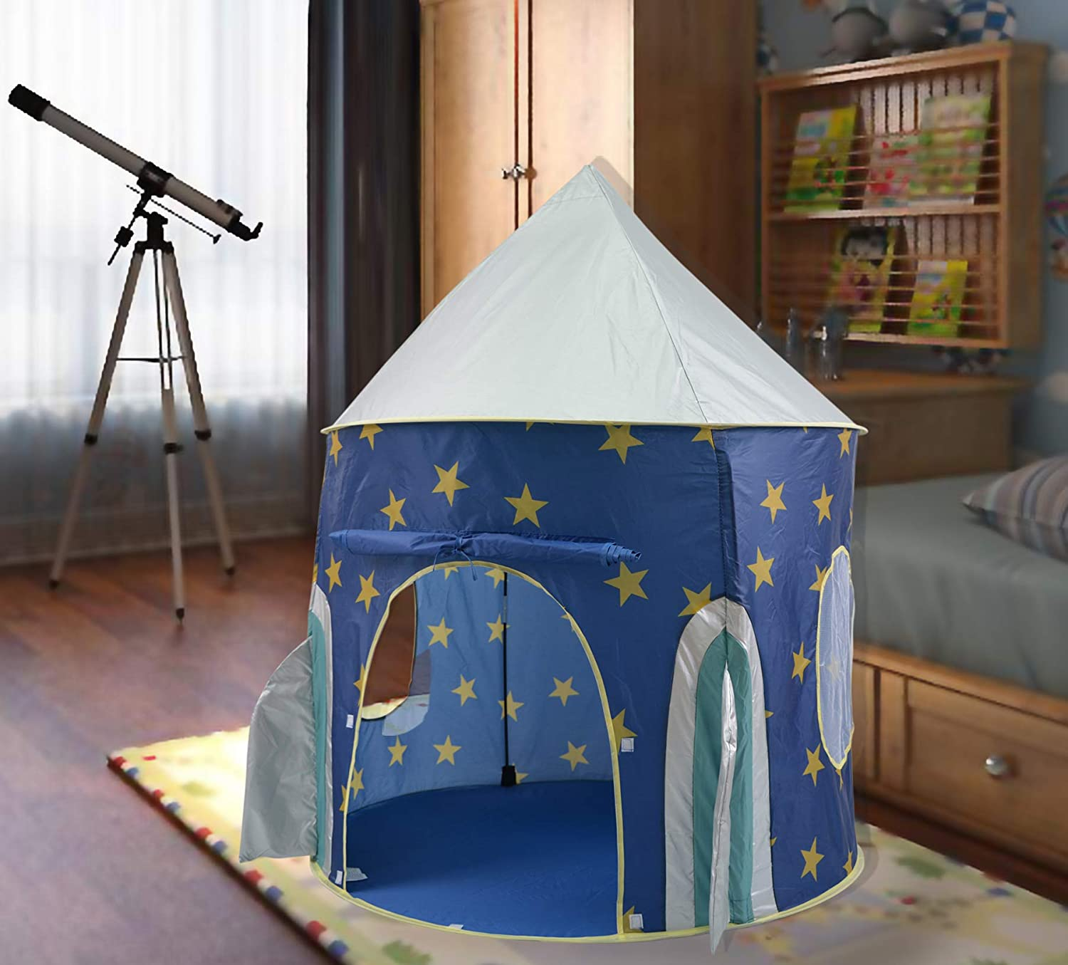 cheap for discount e74d5 a5d35 KiddyPlay Deluxe UV Sun Safe Blue Pop-Up Space Rocket Play Tent - Childrens  Indoor or Outdoor Garden Playhouse - Boys Wendy House