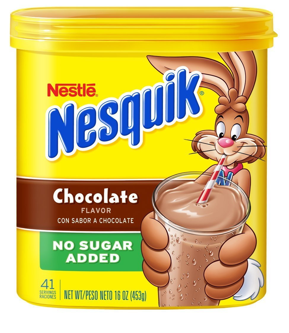 Nesquik No Sugar Added Chocolate Powder 16oz Canister (Pack of 3)