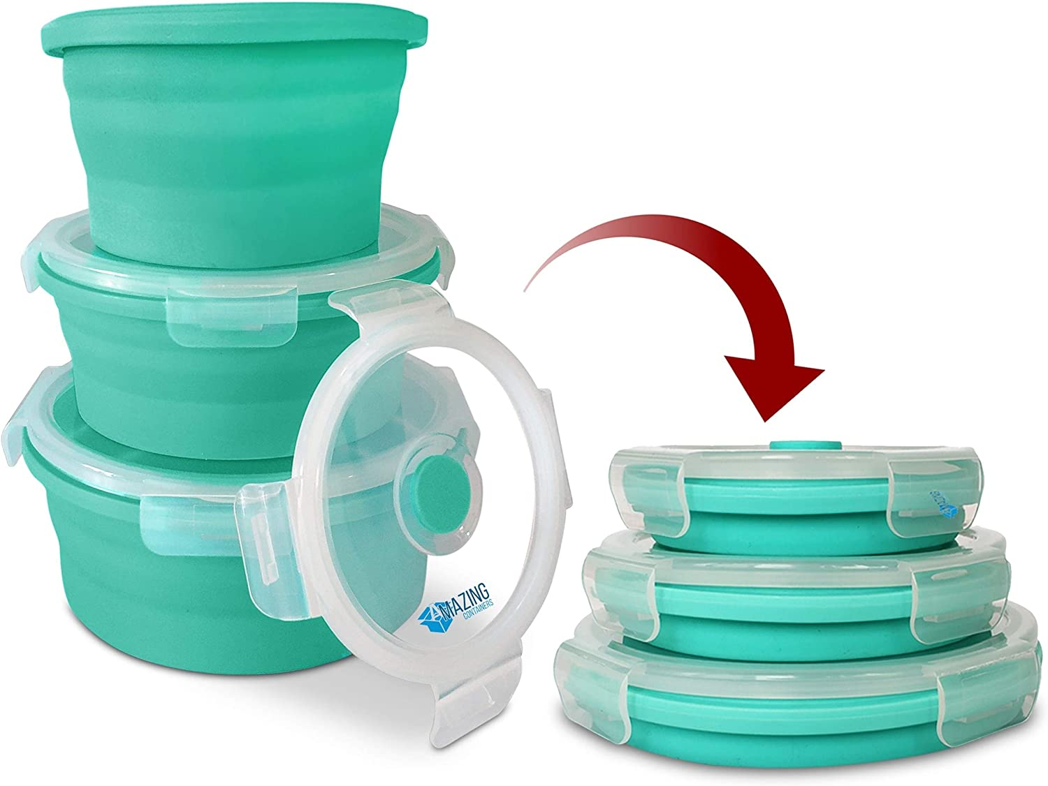 Collapsible Silicone Food Storage Folding Mixing Bowl Containers with Lids - set of 3 Round Expandable Container for Camping,Travel,Hiking-BPA Free, Microwave, Dishwasher and Freezer Safe(Mint Green)