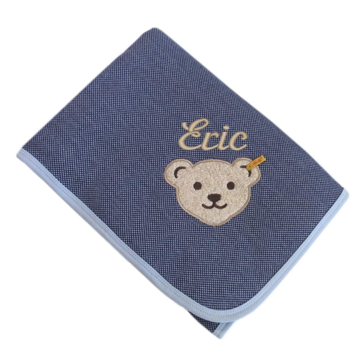 Steiff Baumwolldecke mit Ihrem Wunsch Namen in der abgebildeten Stickschrift bestickt 90 cm x 60 cm blau blau fein kariert Namensdecke shades of blue