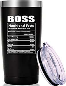 Boss Nutritional Facts Travel Mug Tumbler.Funny Boss Day Gifts Office Gifts.Moving Appreciation Retirement Birthday Christmas Gifts For Men Women Boss Boss Lady From Employees(20oz Black)
