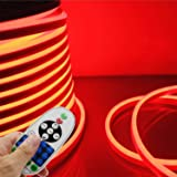 LED NEON Light, IEKOVTM AC 110-120V Flexible LED Neon Strip Lights, 120 LEDs/M, Dimmable, Waterproof 2835 SMD LED Rope Light + Remote Controller for Party Decoration (98.4ft/30m, Red) (Color: Red, Tamaño: 30m/98.4ft)