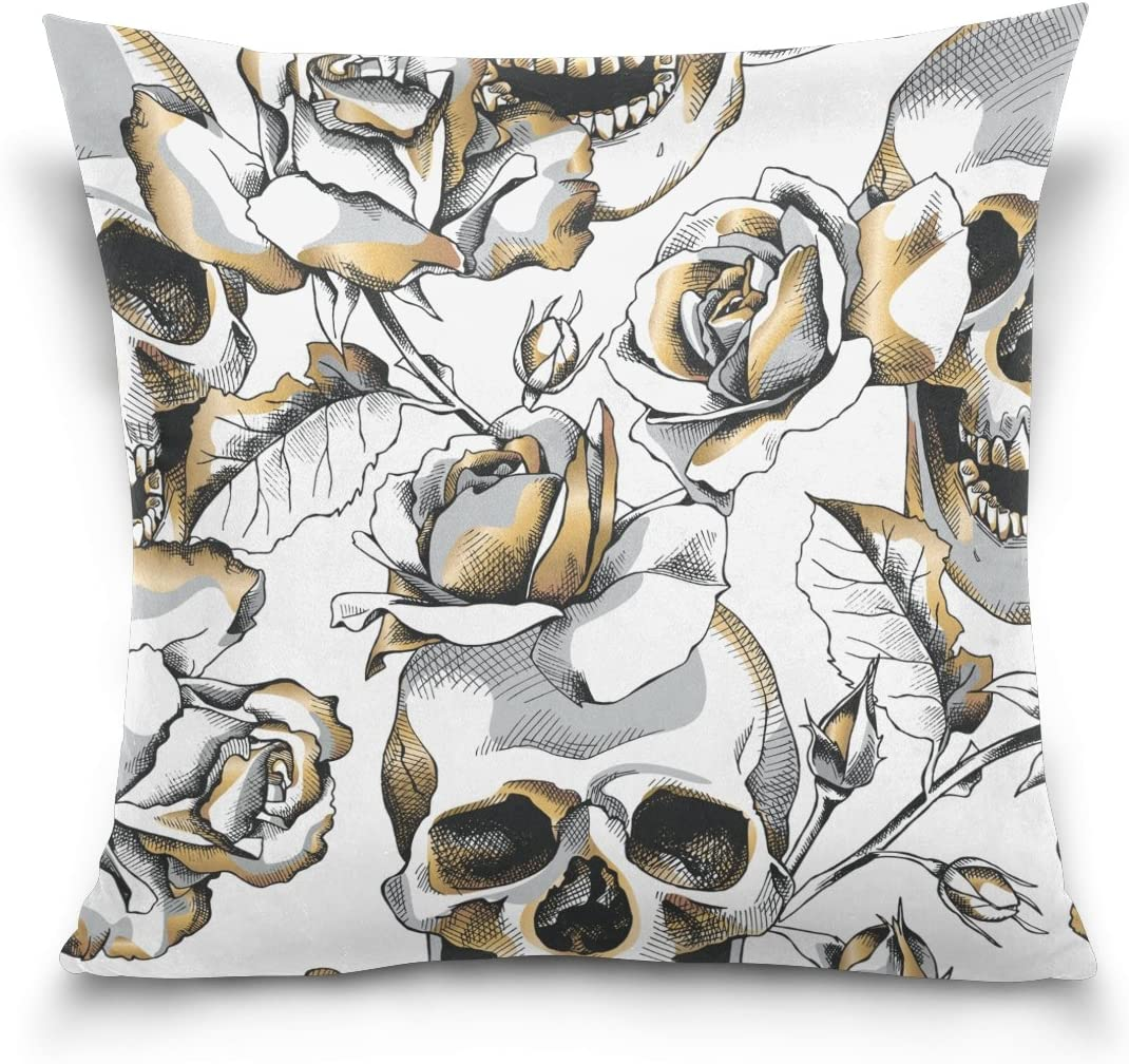 ALAZA Double Sided Pillow Covers Halloween Gold Skull and White Rose Flowers Cotton Velvet Square Cover Cushion Covers 16 x 16 Inch Pillow Slip Covers Decorative
