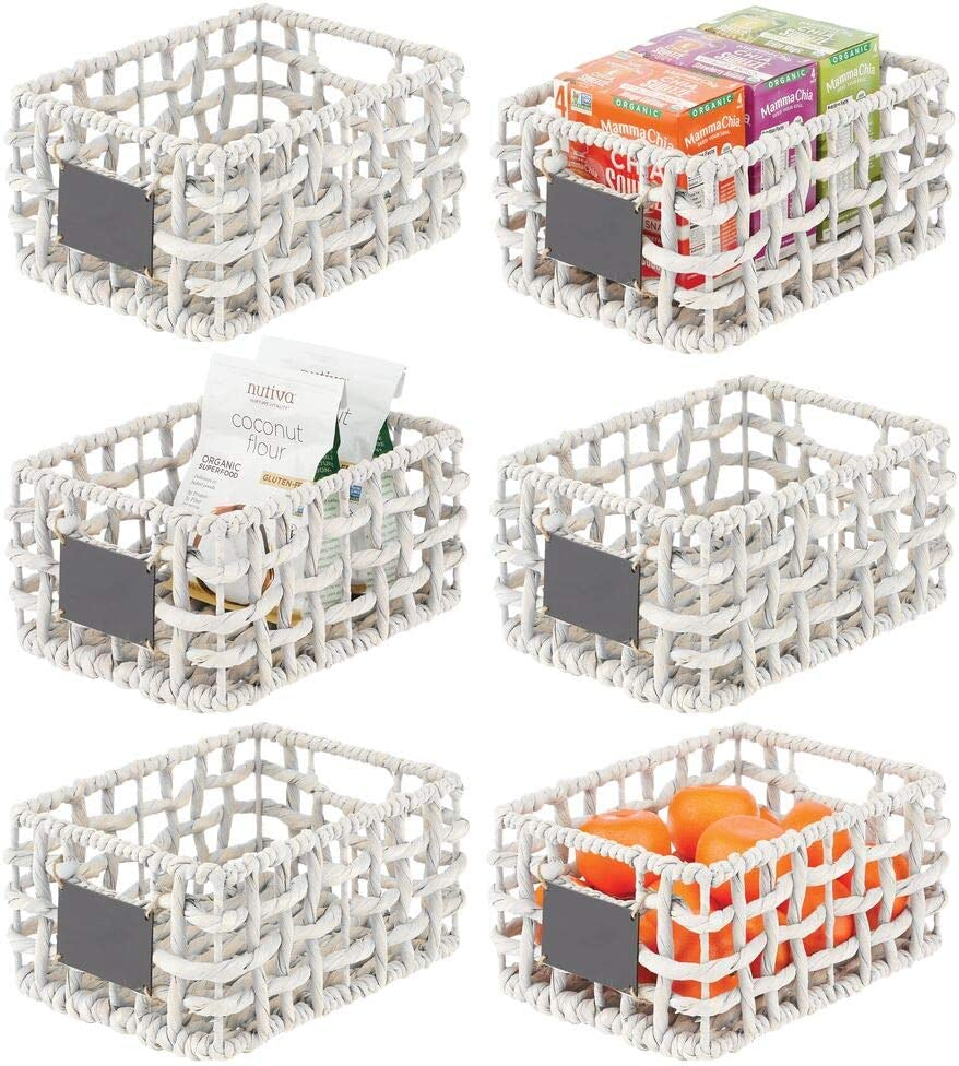 mDesign Water Hyacinth Open Weave Pantry Basket Storage Organizer Bin with Built-in Chalkboard Label for Snacks, Produce, Vegetables, Pasta - Food Safe - 6 Pack - White Wash