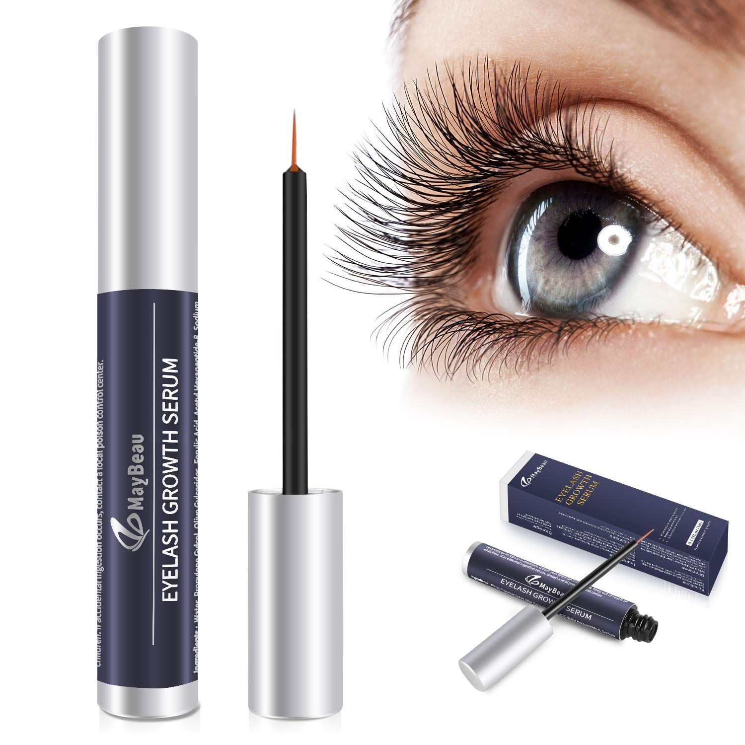 086a883eeaf Amazon.com: Eyelash Growth Serum,MayBeau Natural Brow Lash Enhancer(5ML),Nourish  Damaged Lashes and Boost Rapid Growth for Any Kind of Lash and Brow in 20  ...