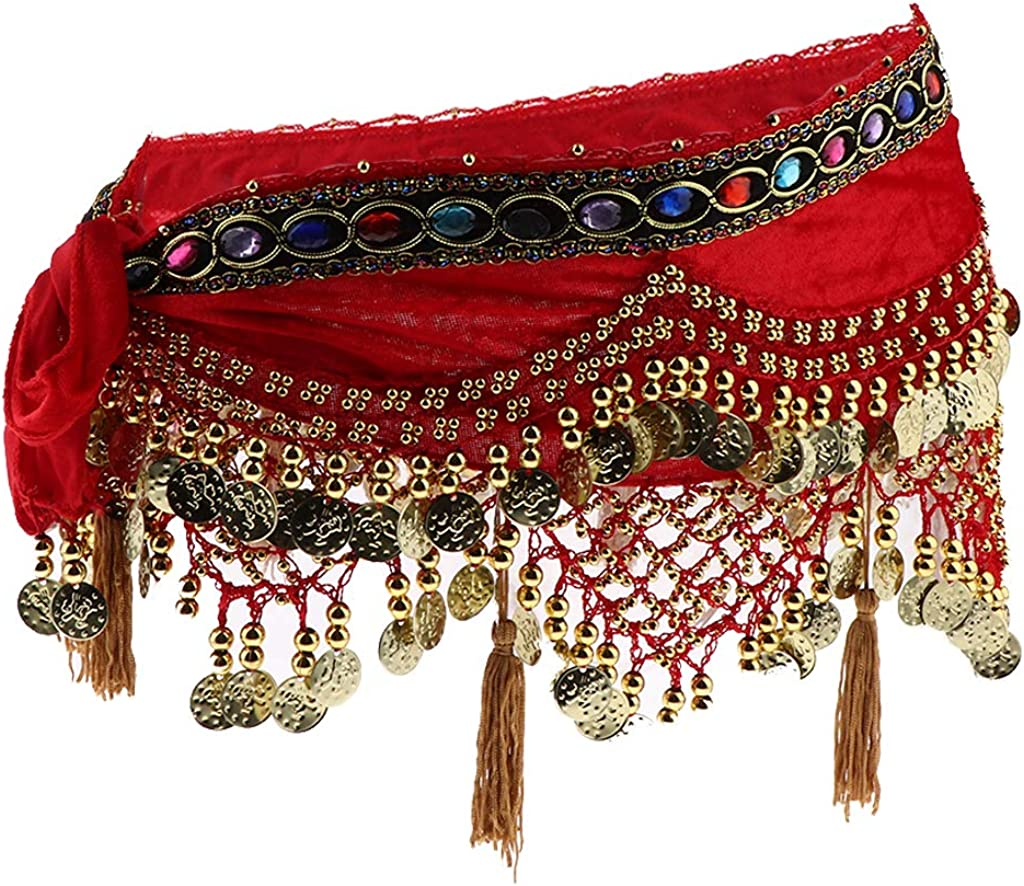 F Fityle Gold Coin Belly Dance Hip Scarf Wrap Belt Indian Dancer Skirt Latin Costumes