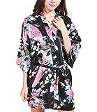 Women Short Kimono Robes Bridesmaid Peacock and Blossoms Stain Silk Nightwear
