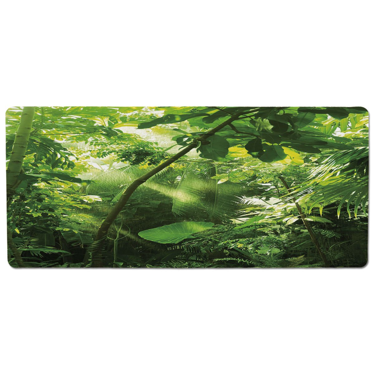 35.4\ iPrint Pet Mat for Food and Water,Plant,Rain and Sun at Exotic Tropical Forest Jungle Undamaged Nature Brazil Rainforest Decorative,Forrest Green,Rectangle Non-Slip Rubber Mat for Dogs and Cats
