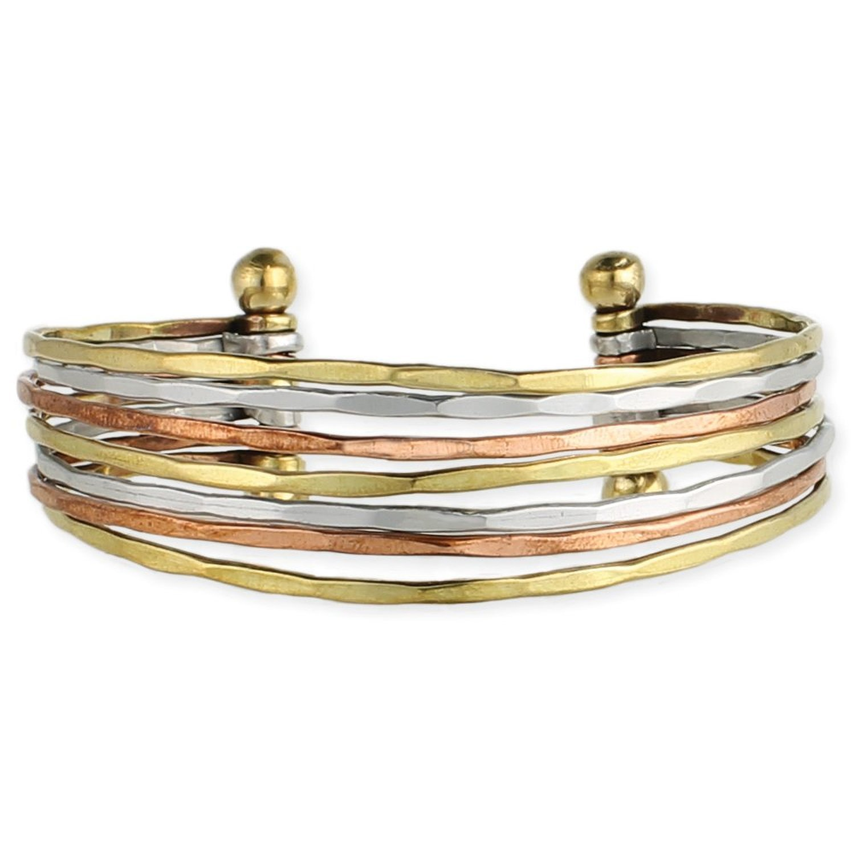 Zad Mixed Metal Hammered Cuff Fashion Bracelet (Goldtone, Copper, Silvertone)