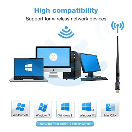 FREESOO USB Wifi Adapter 1200Mbps USB 3.0 Wireless Network Dual Band 5.8G//2.4G adapter with 5dBi Antenna for Mac PC Desktop Laptop Compatible with Windows XP//Vista//7//8//10 Linx2.6X Mac OS X