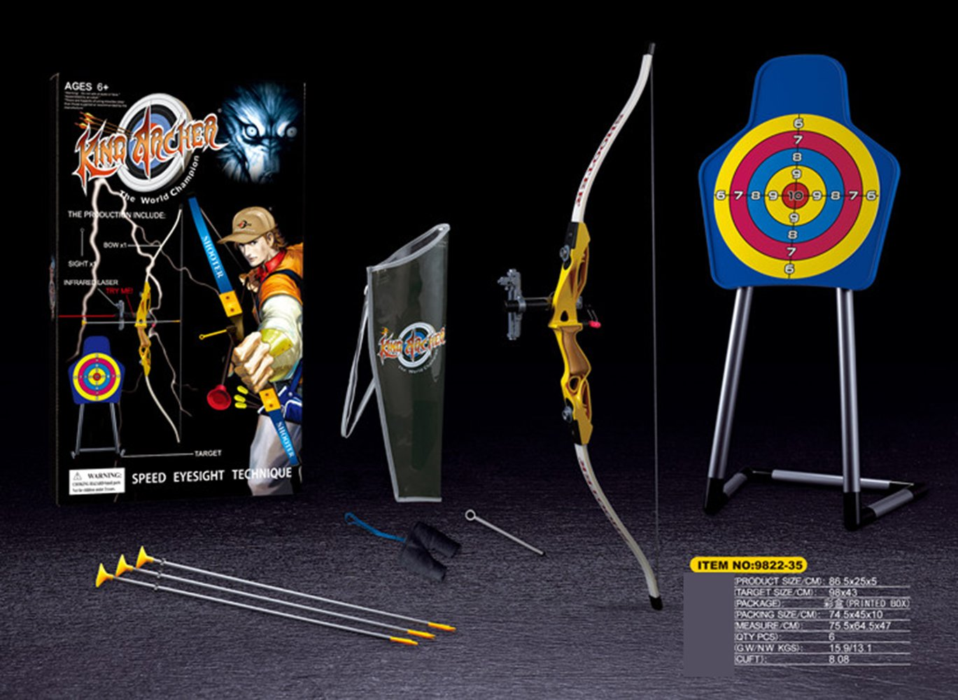 ZGUO Play Toy Archery Set for Kids with Bow and Arrow Target and Quiver